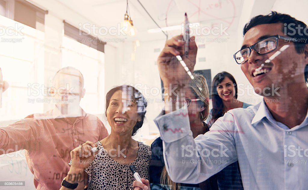 Brainstorming in progress stock photo
