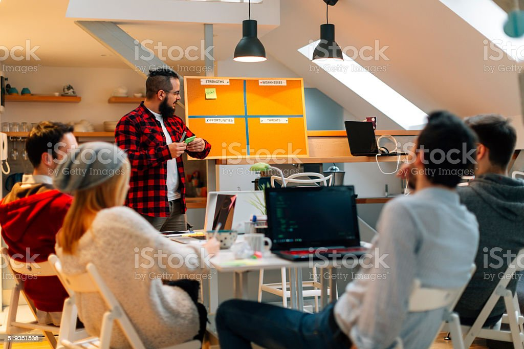 Brainstorming in their Home Office. stock photo