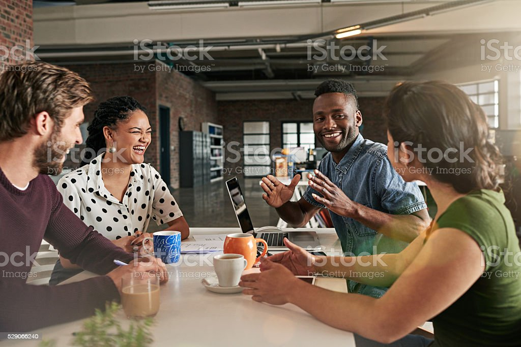 Brainstorming makes for a great team building exercise stock photo
