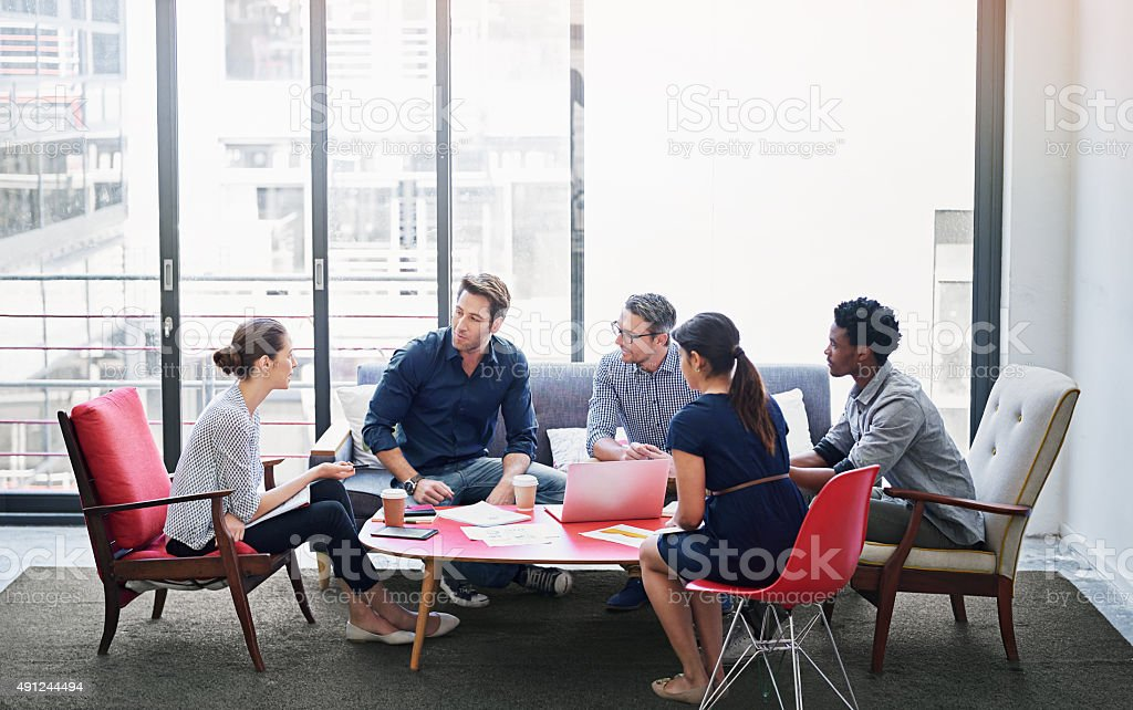 Brainstorming session in progress stock photo