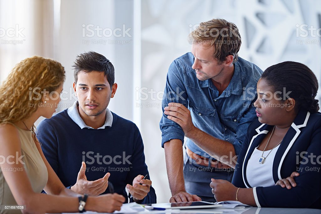 Brainstorming their way through the project stock photo