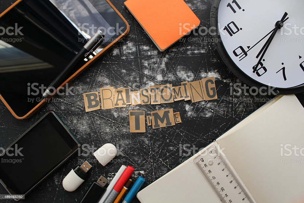 Brainstorming time concept and business equipments stock photo