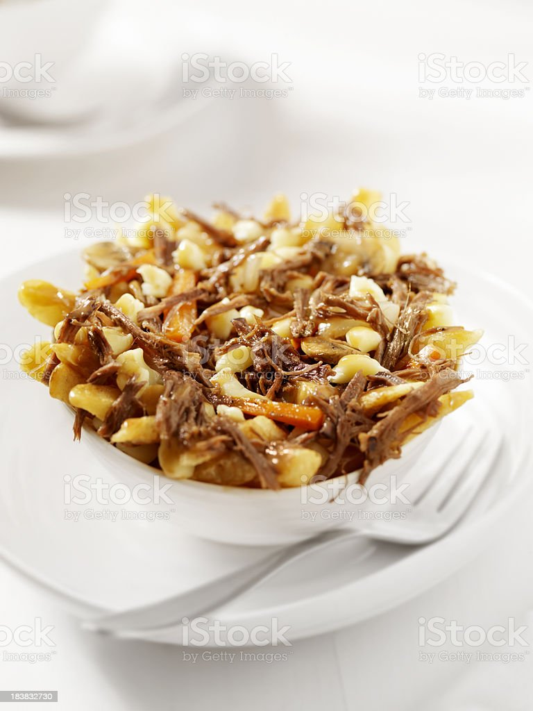 Braised Beef Poutine stock photo