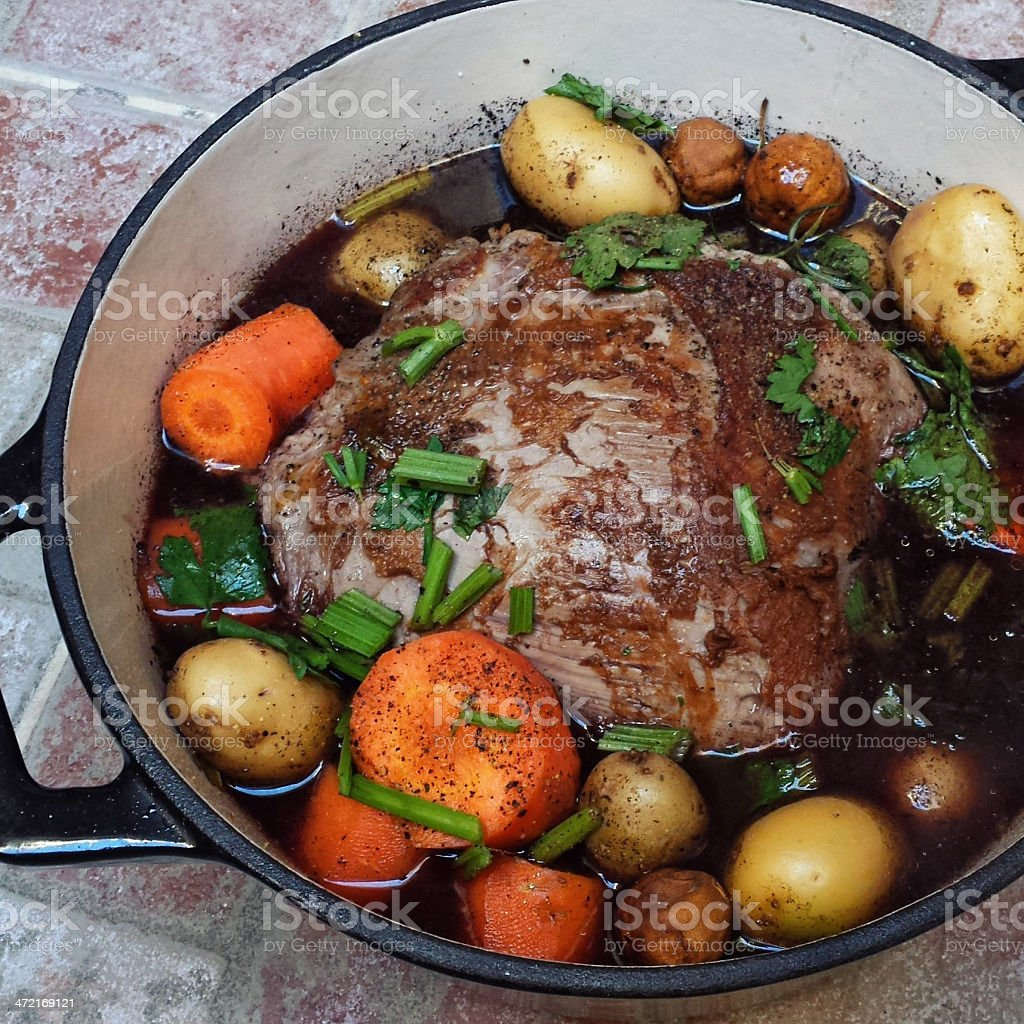 Braised Beef Rump Steak in wine with Vegetables stock photo