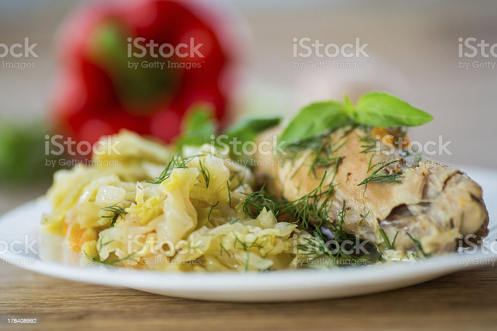 braised cabbage with meat rabbit royalty-free stock photo