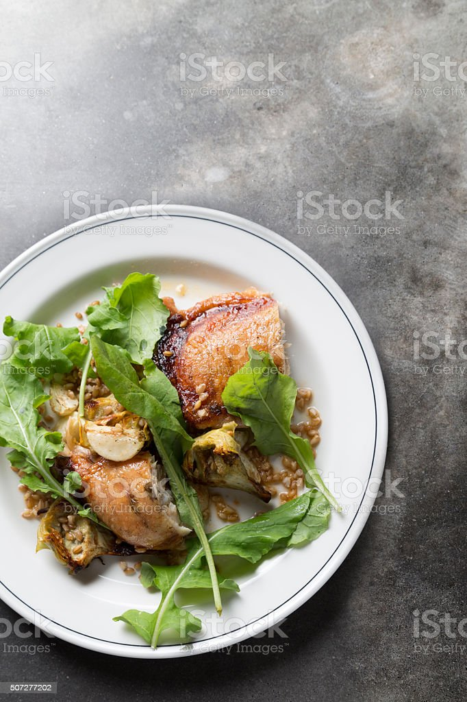 Braised Chicken and Greens stock photo
