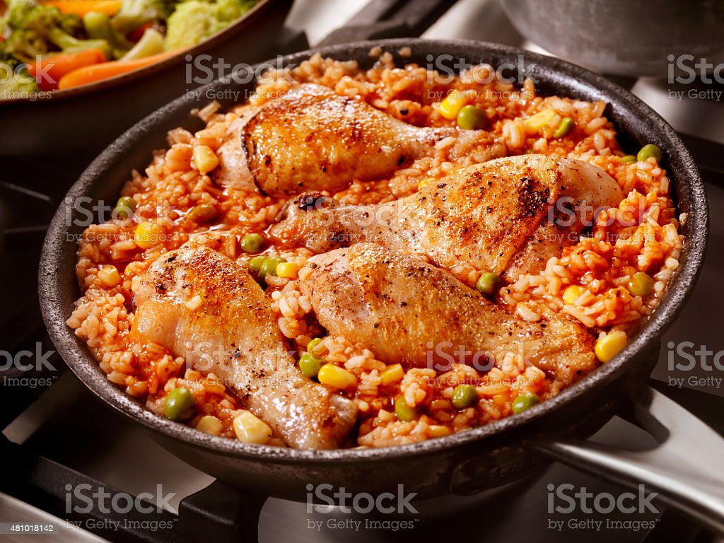 Braised Chicken in a Vegetable Tomato Rice stock photo