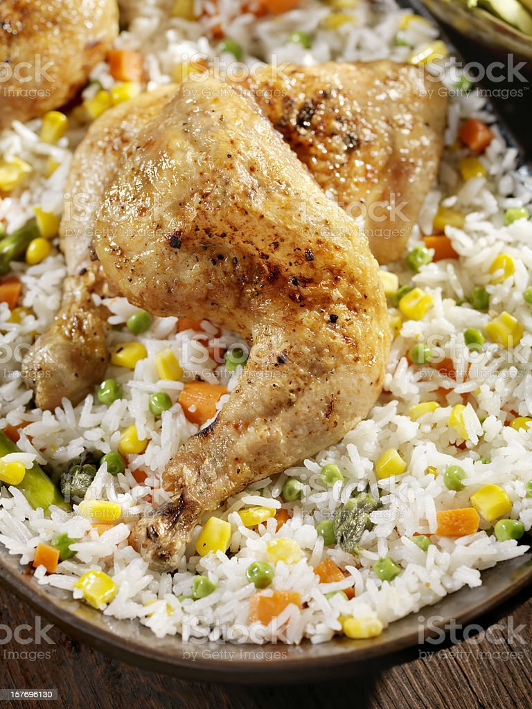 Braised Chicken Leg with Rice and Vegetables stock photo
