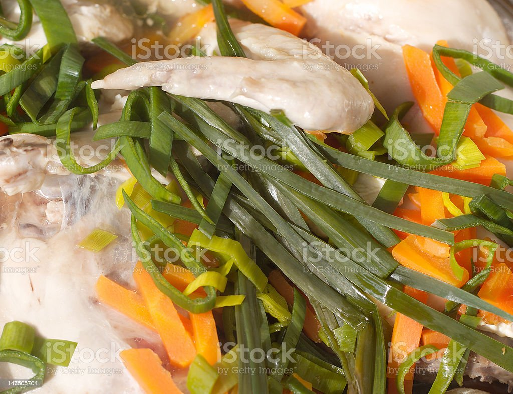 Braised diet chicken with vegetables closeup royalty-free stock photo
