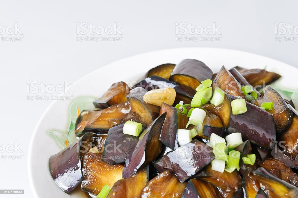 Braised eggplant, Chinese food stock photo