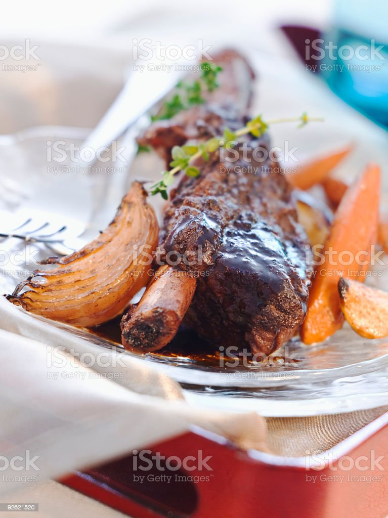 Braised English Short Ribs stock photo