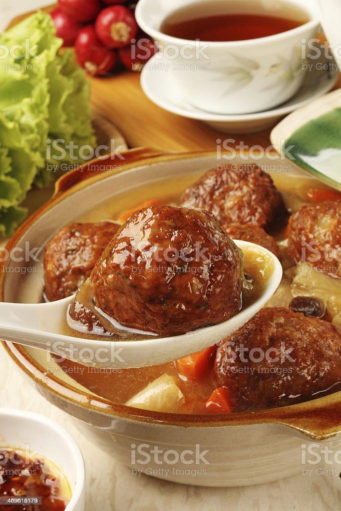 Braised pork balls in soy sauce stock photo