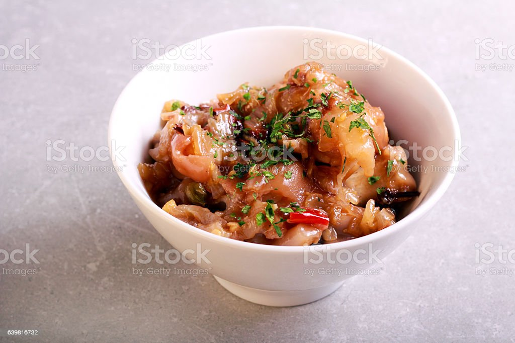 Braised pork feet in a bowl stock photo