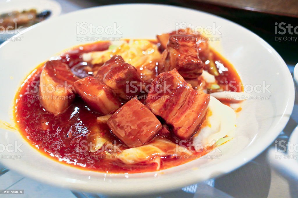 Braised Pork in Soy Sauce stock photo