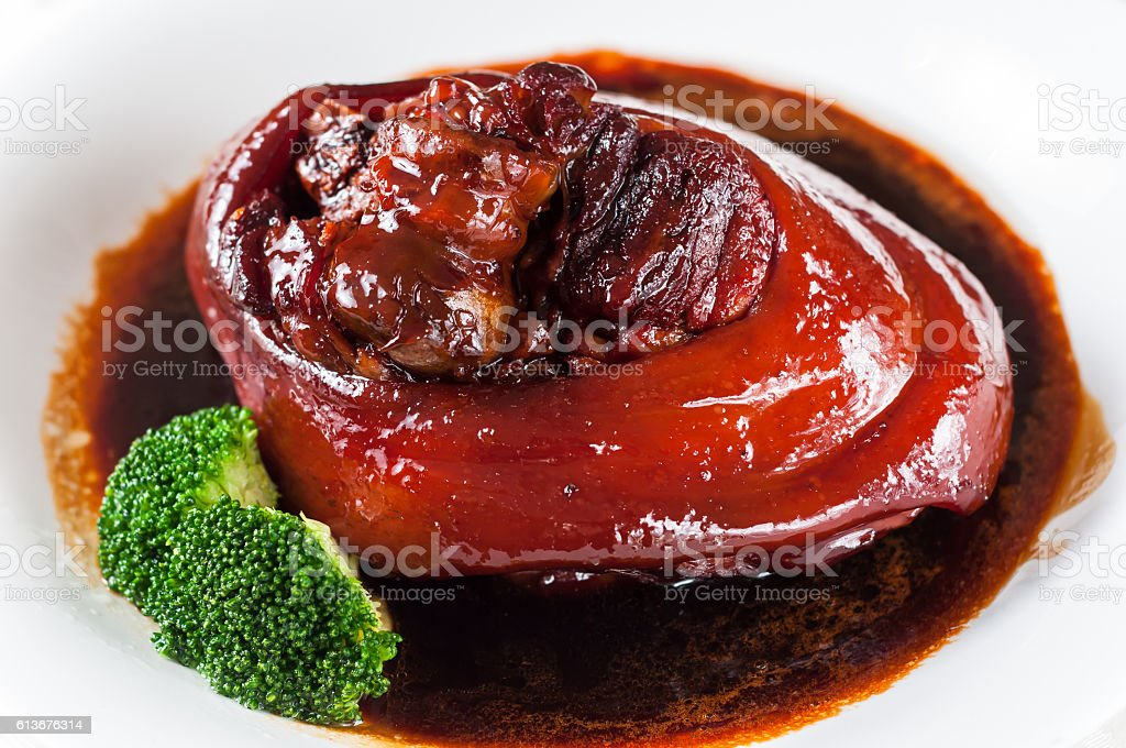 braised pork leg stock photo