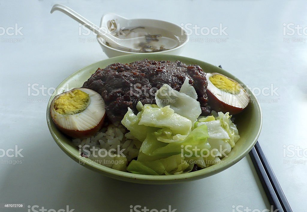 braised pork rice stock photo