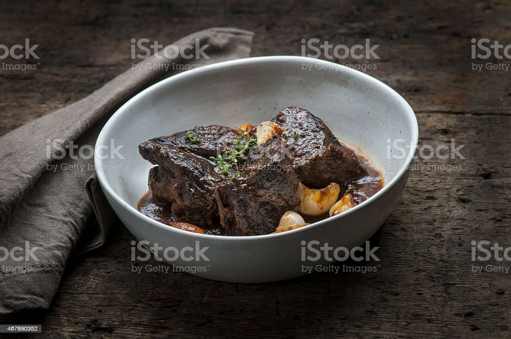 Braised Short Ribs in a bowl stock photo
