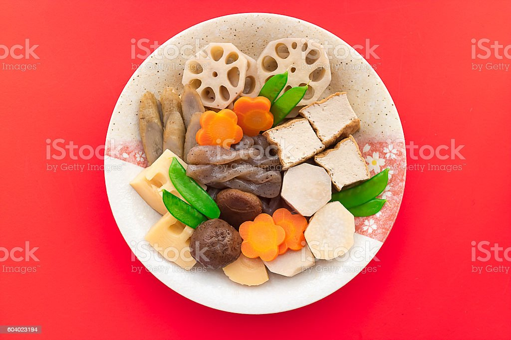 Braised vegetables, Nishime for special new year's dish stock photo