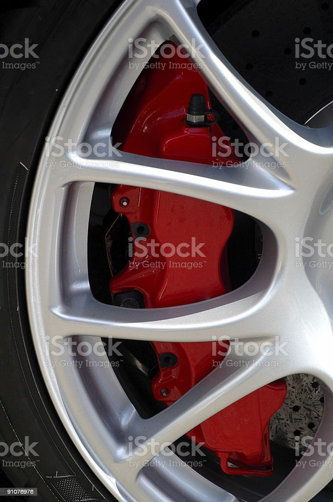 brake caliper on a sports car royalty-free stock photo