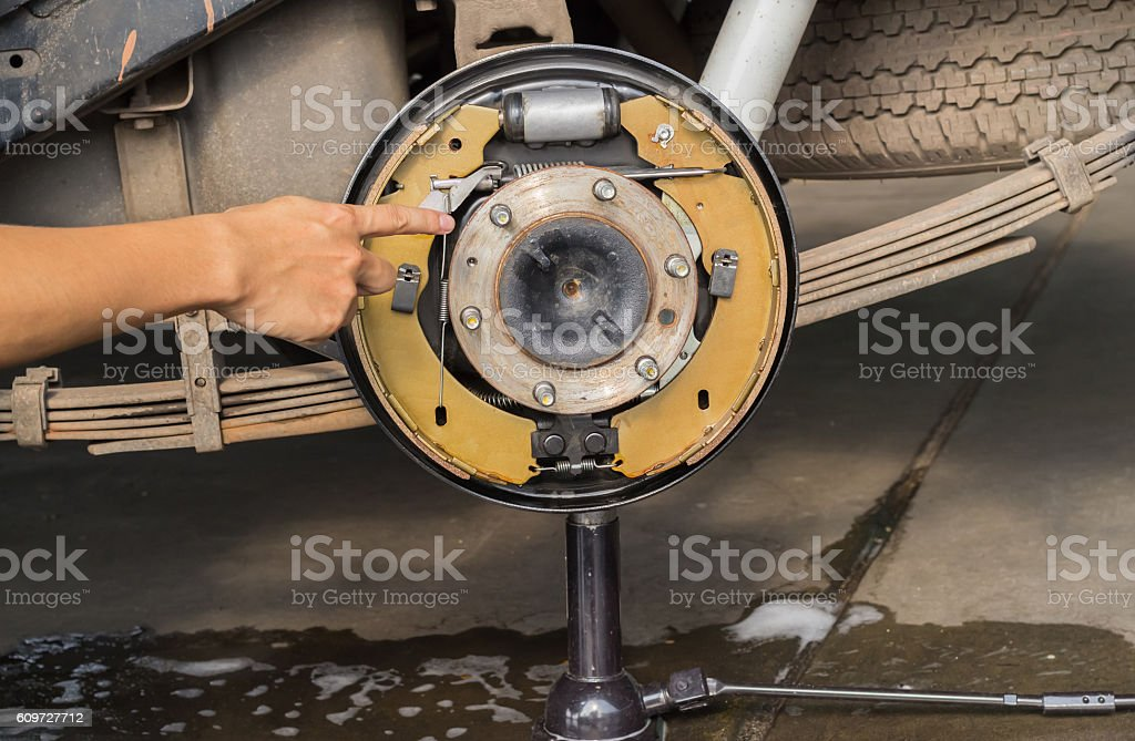 Brake cleaner stock photo