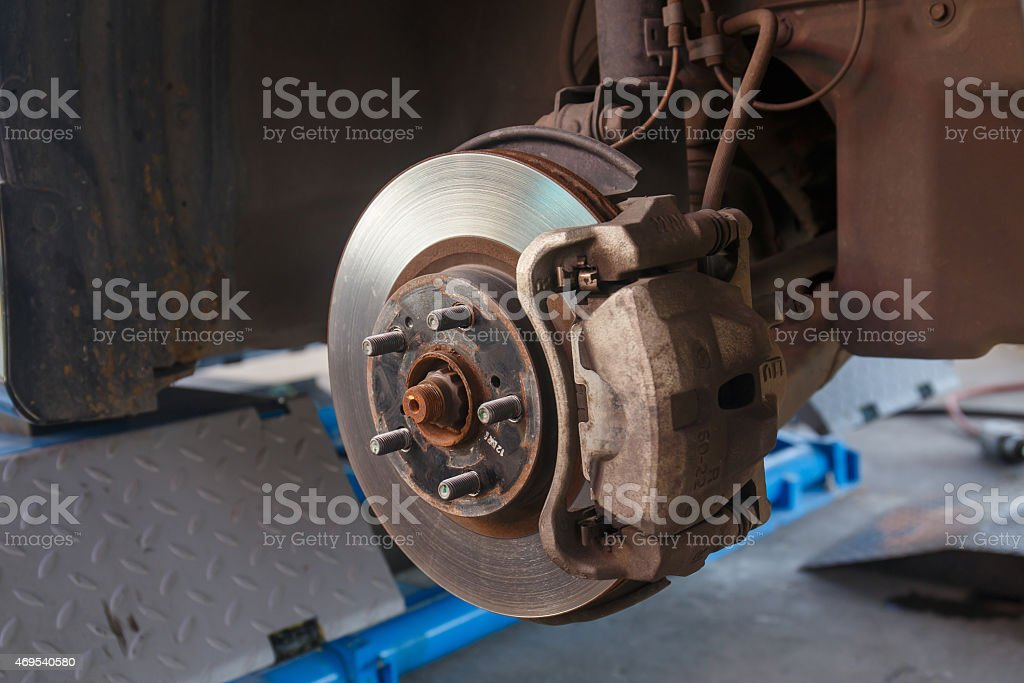 brake disk and detail of the wheel hub. stock photo
