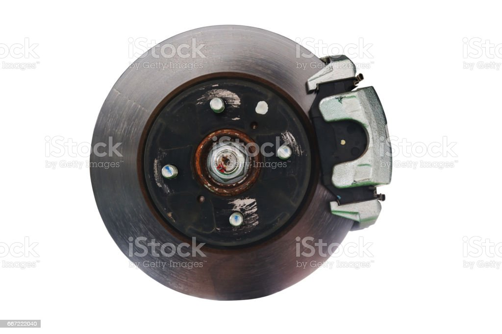 Brake disk and the wheel assembly isolated on white background with clipping path stock photo