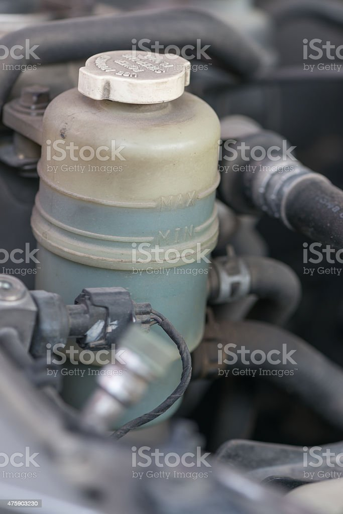 Brake fluid in the tank at max level. stock photo