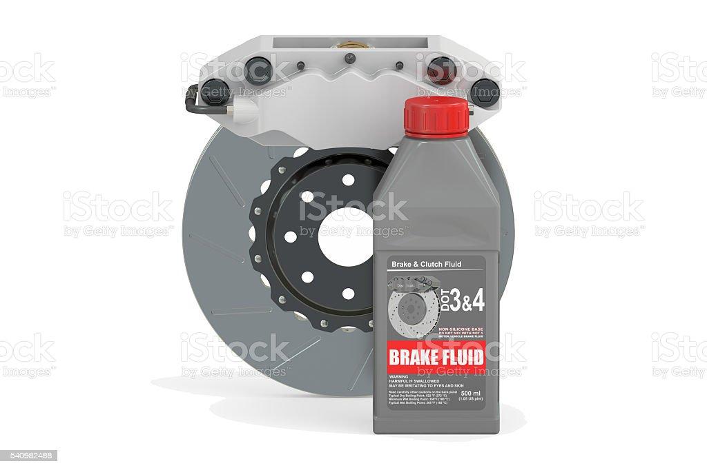 Brake Fluid with Disc Brake, 3D rendering stock photo