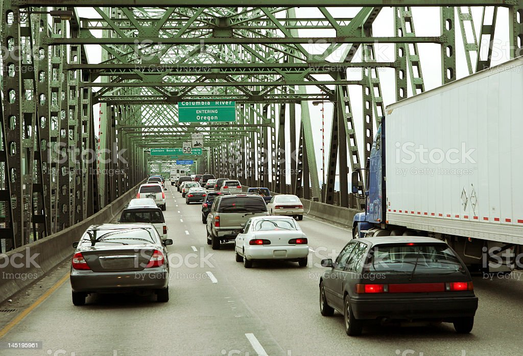 Brake lamp in traffic jam on a bridge stock photo