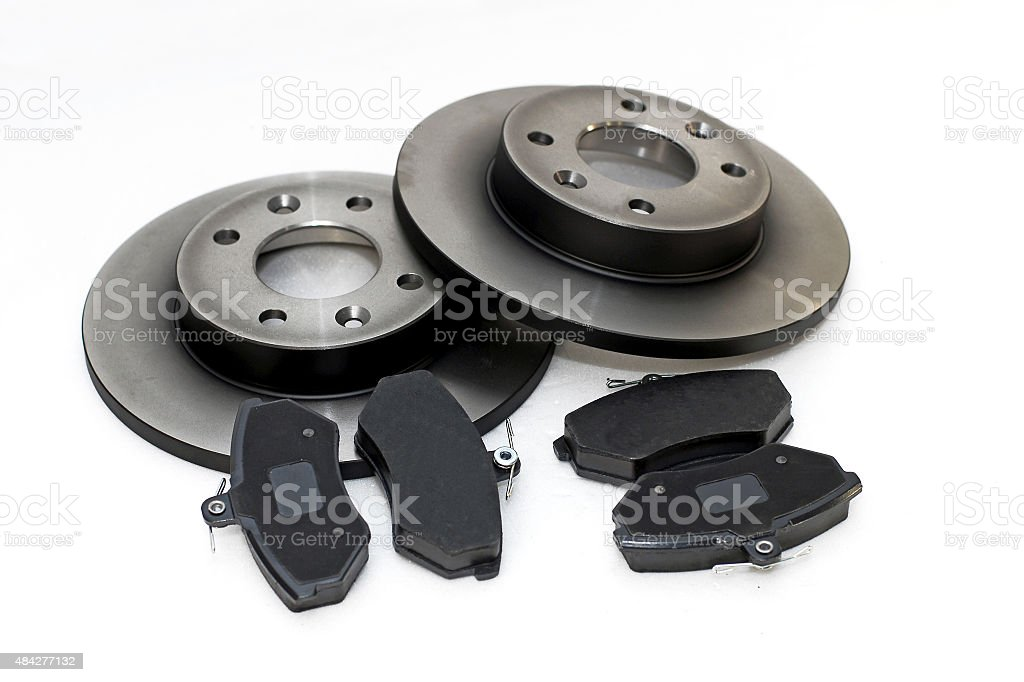 Brake pads and brake discs stock photo