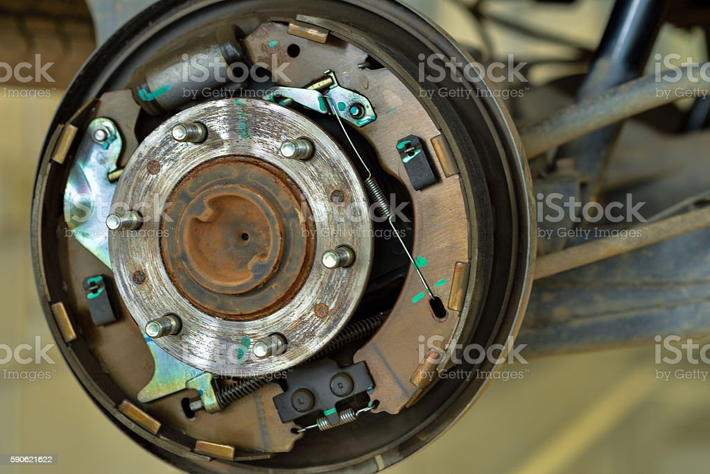 brake pads and cylinder brake drum stock photo