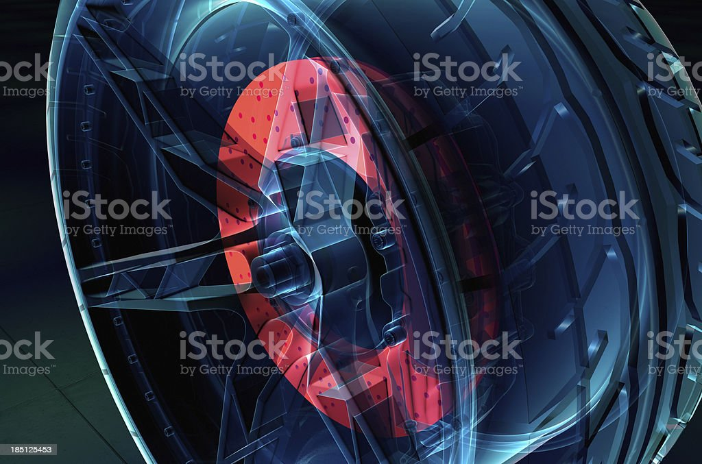 Brake System with tyre and rim X-ray style stock photo