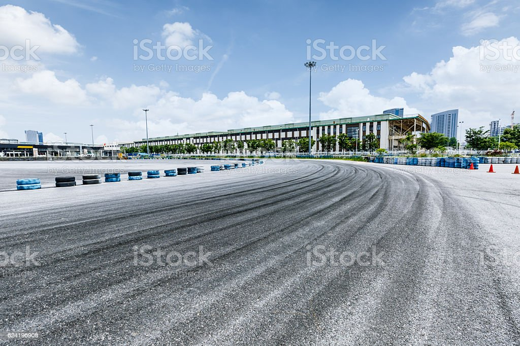 brake trajectory on the asphalt road stock photo