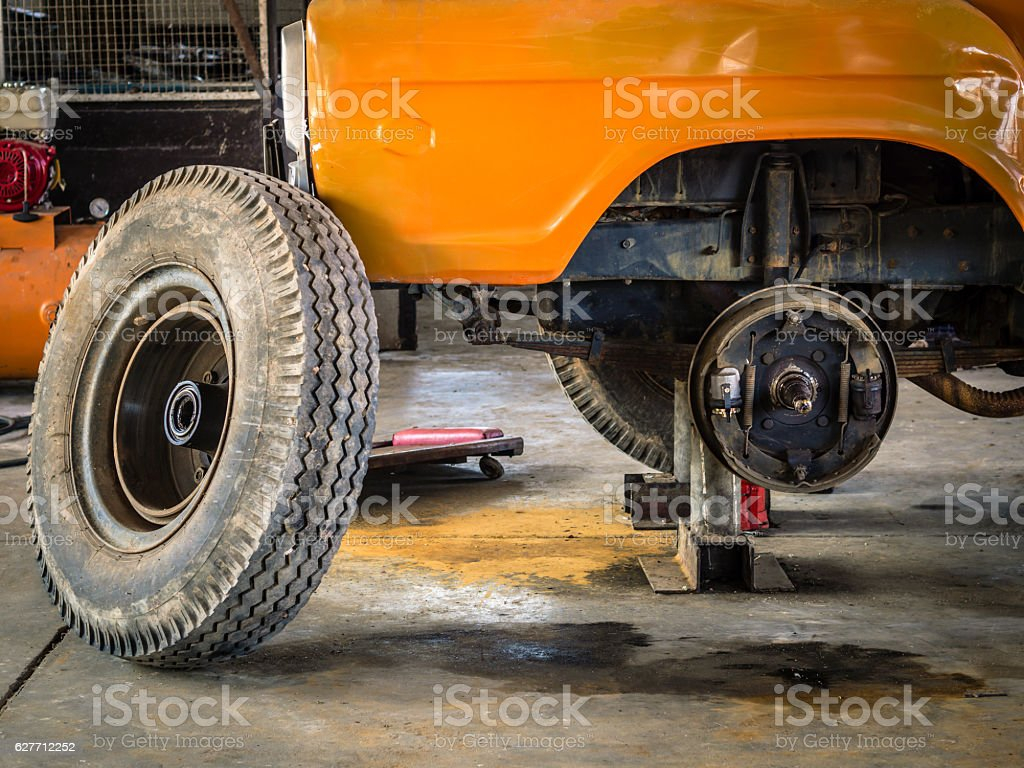 Brakes of Transport car with removed wheel. stock photo