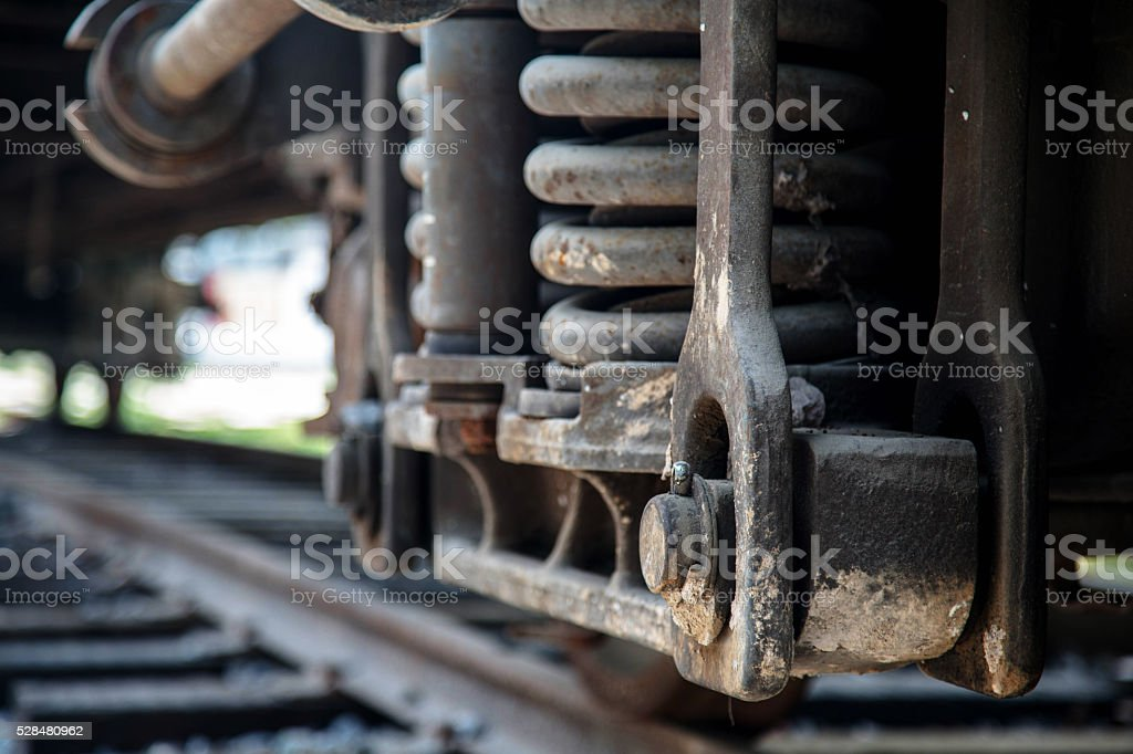 braking equipmen of locomotive,stopping on railway track stock photo