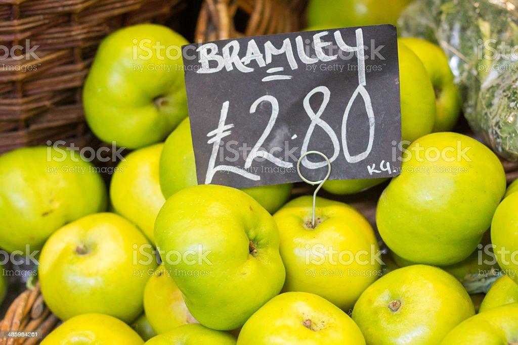 Bramley Apples in Borough Market, LOndon stock photo