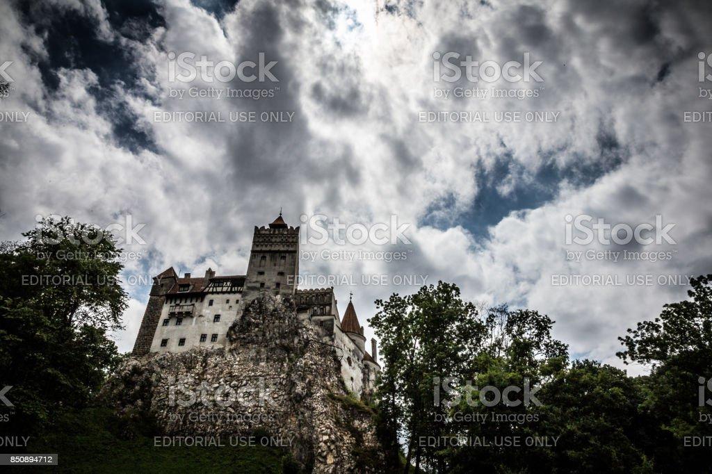 Bran (Dracula) Castle and moody cloudscape, Bran, Transylvania, Romania stock photo