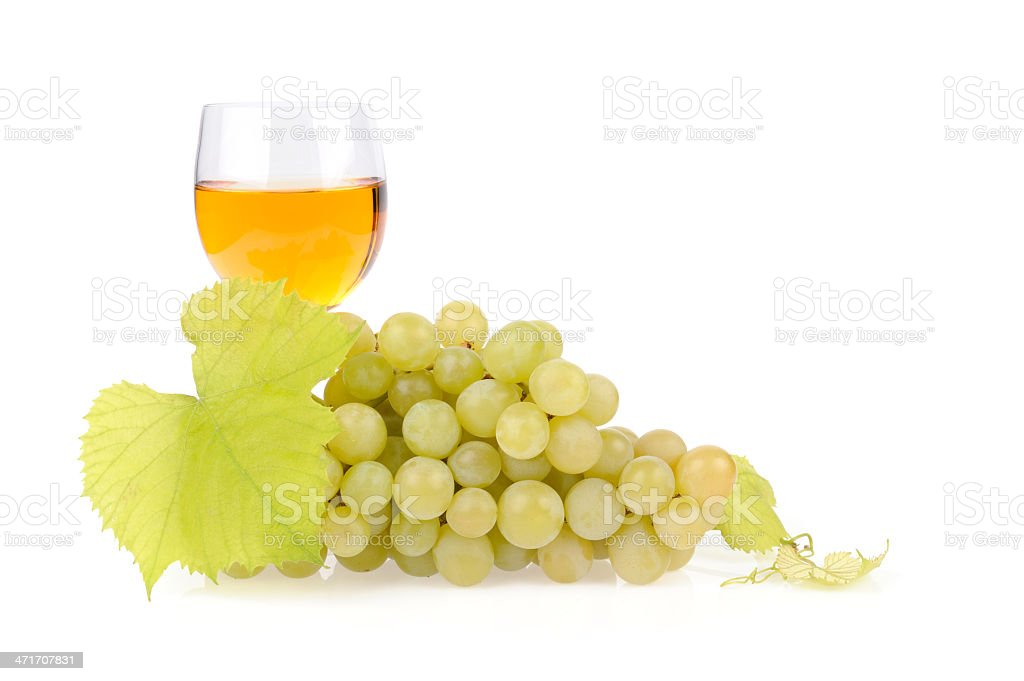 Branch grapes and glass of wine royalty-free stock photo