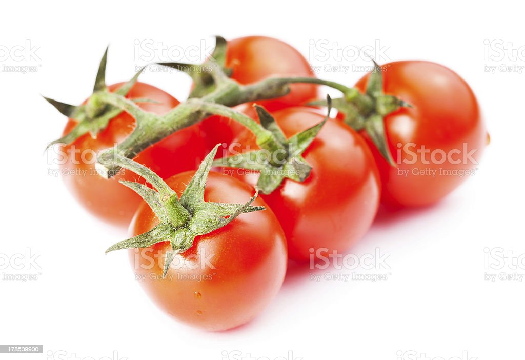 Branch of cherry tomatoes isolated on white background royalty-free stock photo