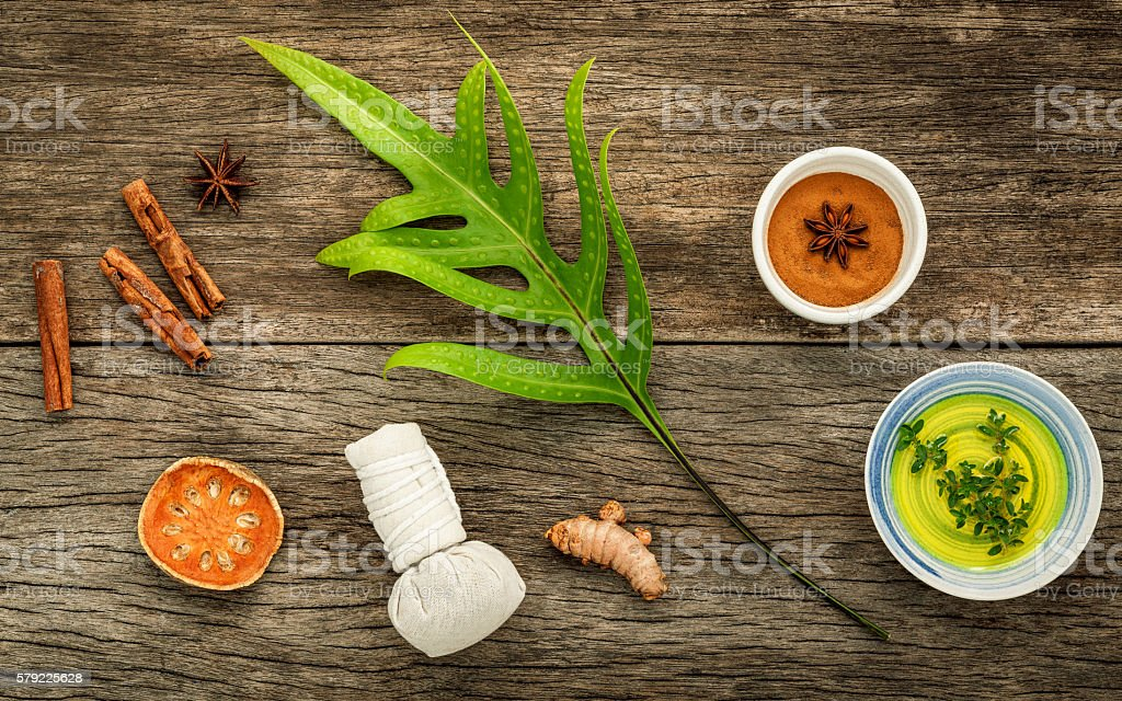 Branch of fern leaves with nature spa ingredients . stock photo