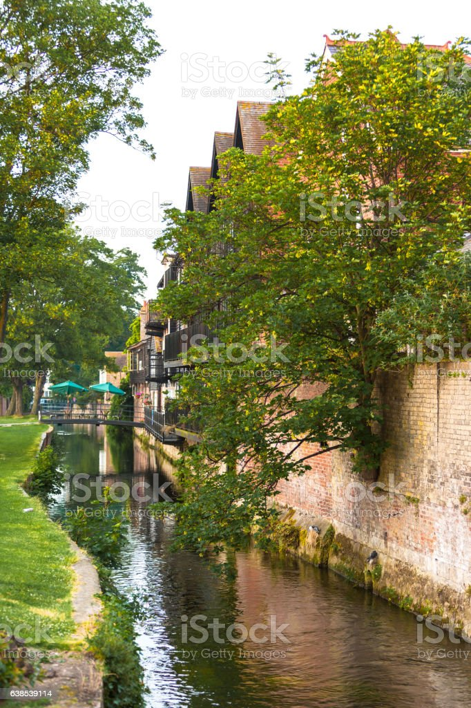 Branch of the Great Stour river. Canterbury, Kent, England stock photo