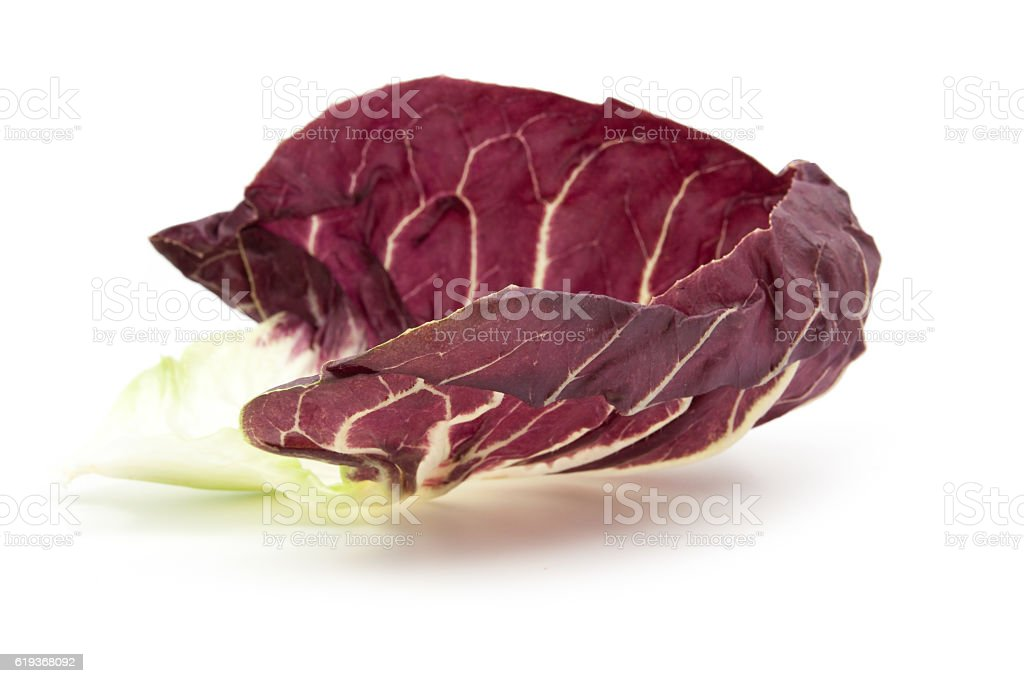 branch radicchio red salad isolated on white stock photo