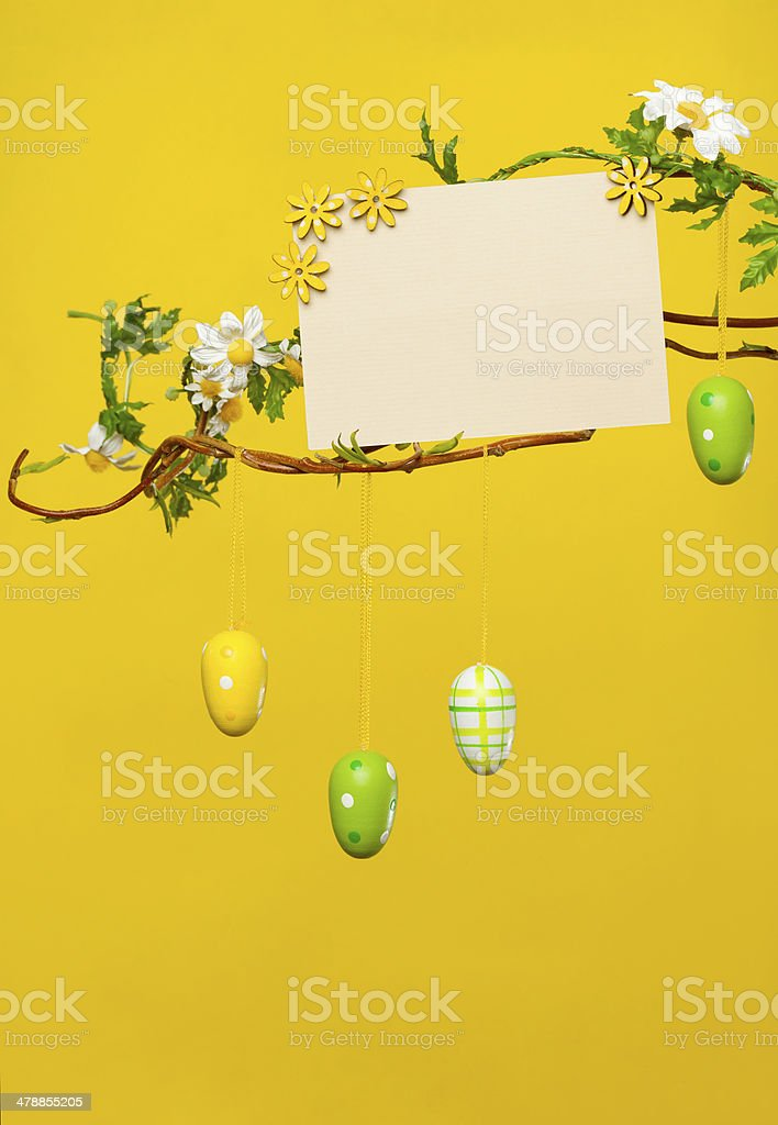 Branches - with Easter Eggs, Flowers and Blank Card stock photo