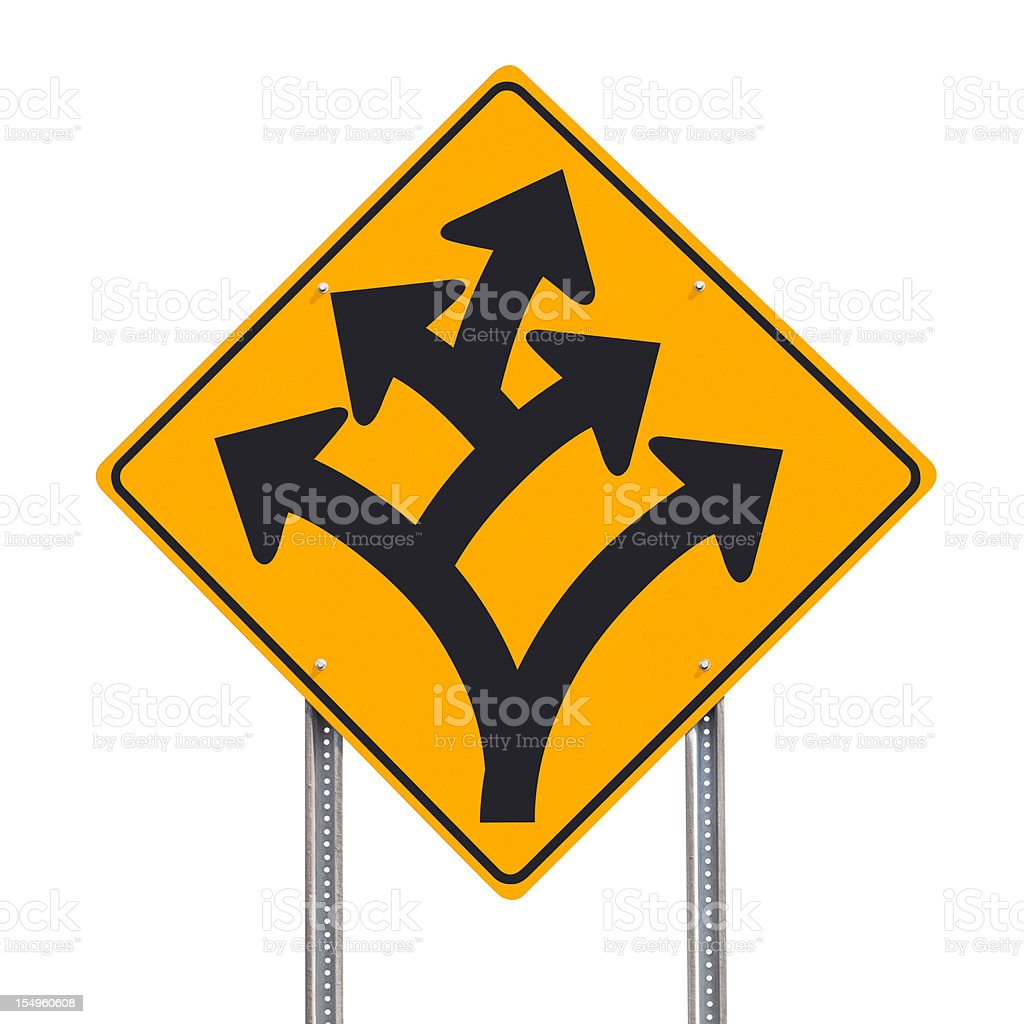 Branching Off or Division Ahead Traffic Sign Post Isolated royalty-free stock photo