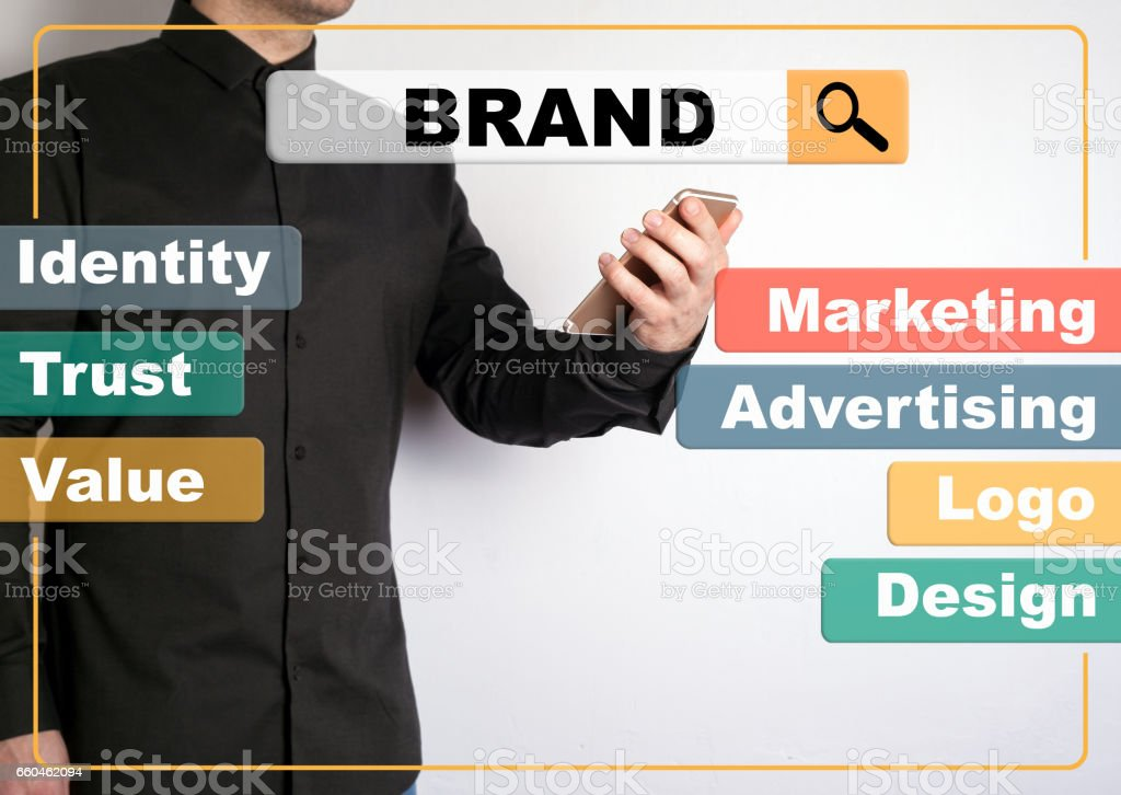 Brand concept. A man with a mobile phone in the background stock photo
