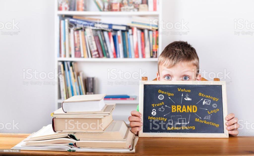 Brand concept. Chalk board Background stock photo