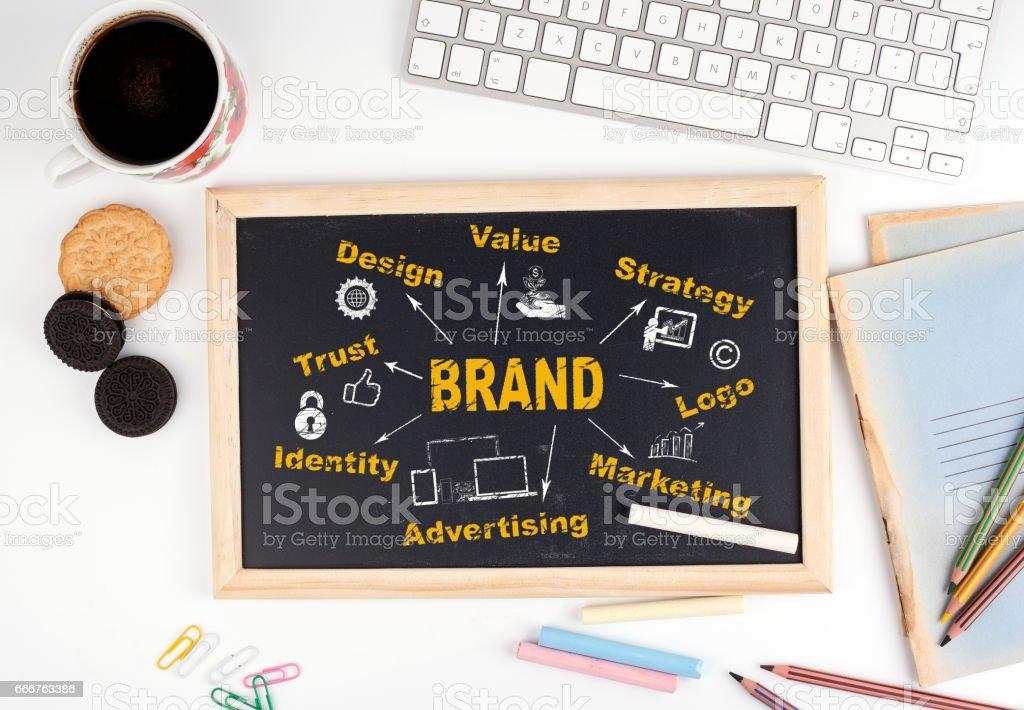 Brand concept. Chalkboard on white office desk stock photo