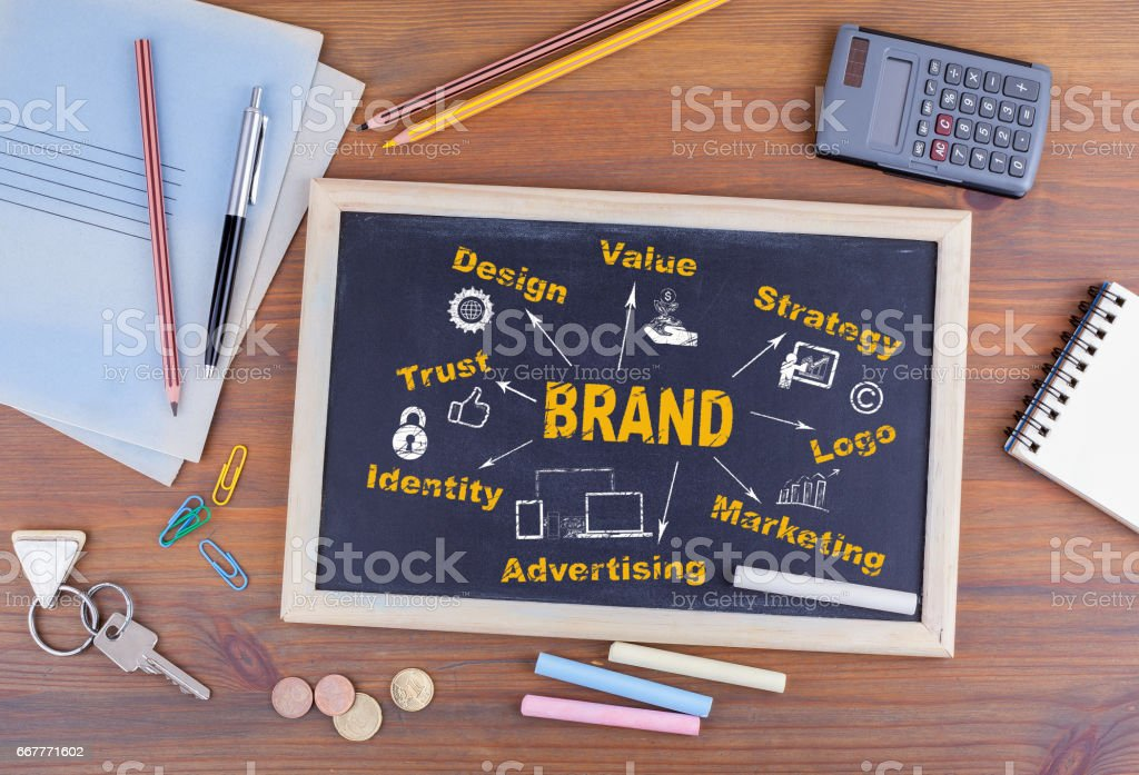 Brand concept. Chalkboard on wooden office desk stock photo