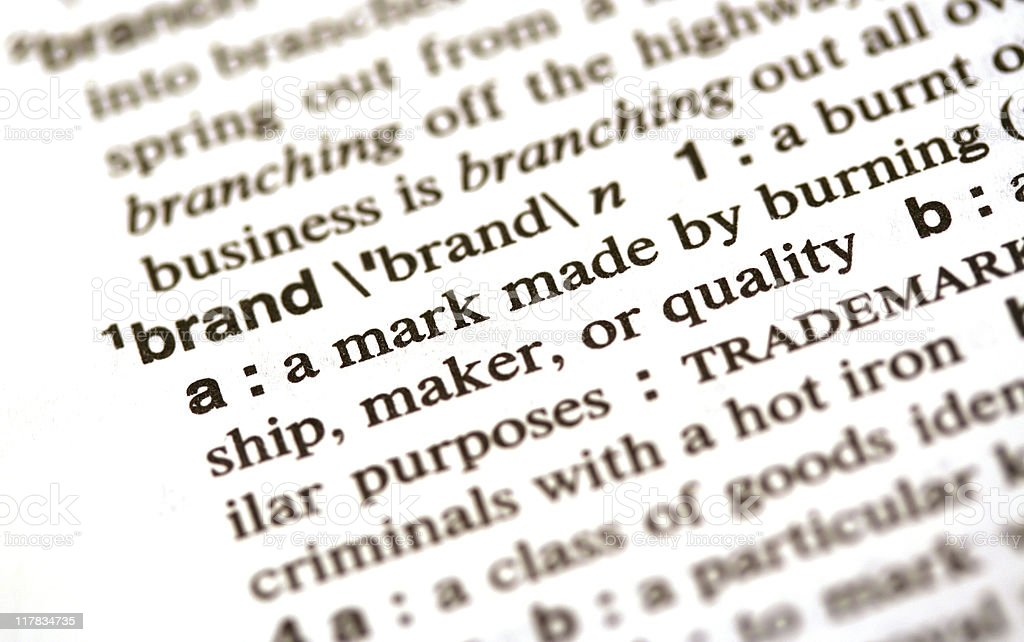Brand definition in the dictionary stock photo