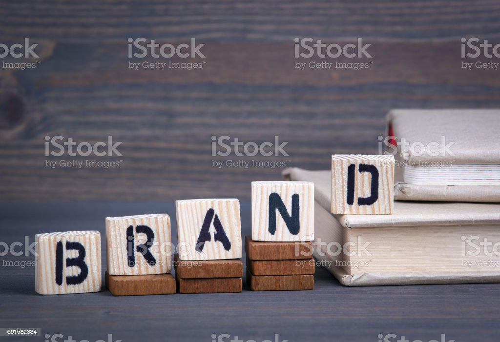 Brand from wooden letters. Abstract business and success background stock photo